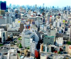 大阪の街並みをミニチュア風に
