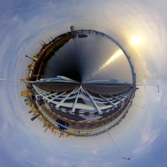 淀川大橋から360°パノラマ