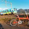 くまモン電車と記念撮影