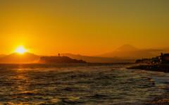 富士山 江ノ島 夕焼け