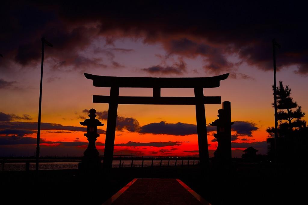 夜明けの住吉神社1