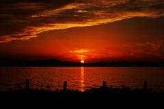 びわ湖での秋の夕焼け