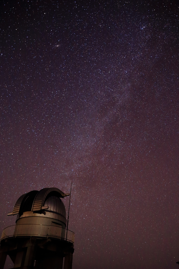 Milky way with Astronomical telescope