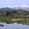 飯豊連峰と白川湖水没林
