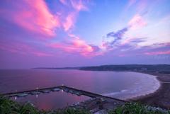 とある海岸の夕日