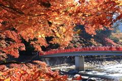 足助の赤い橋