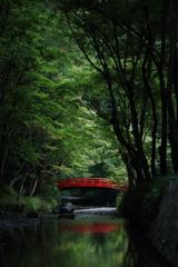 赤い橋のある風景