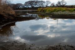 雨不足の川