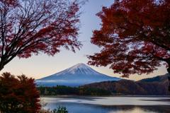 富士五湖 紅葉トンネルにて