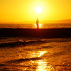夕陽に立つ