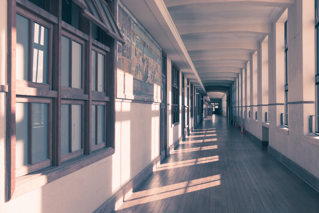 懐かしの廊下で(旧豊郷小学校より)
