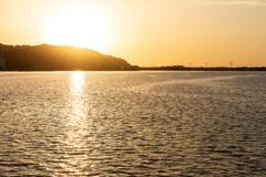 東郷池の夕日
