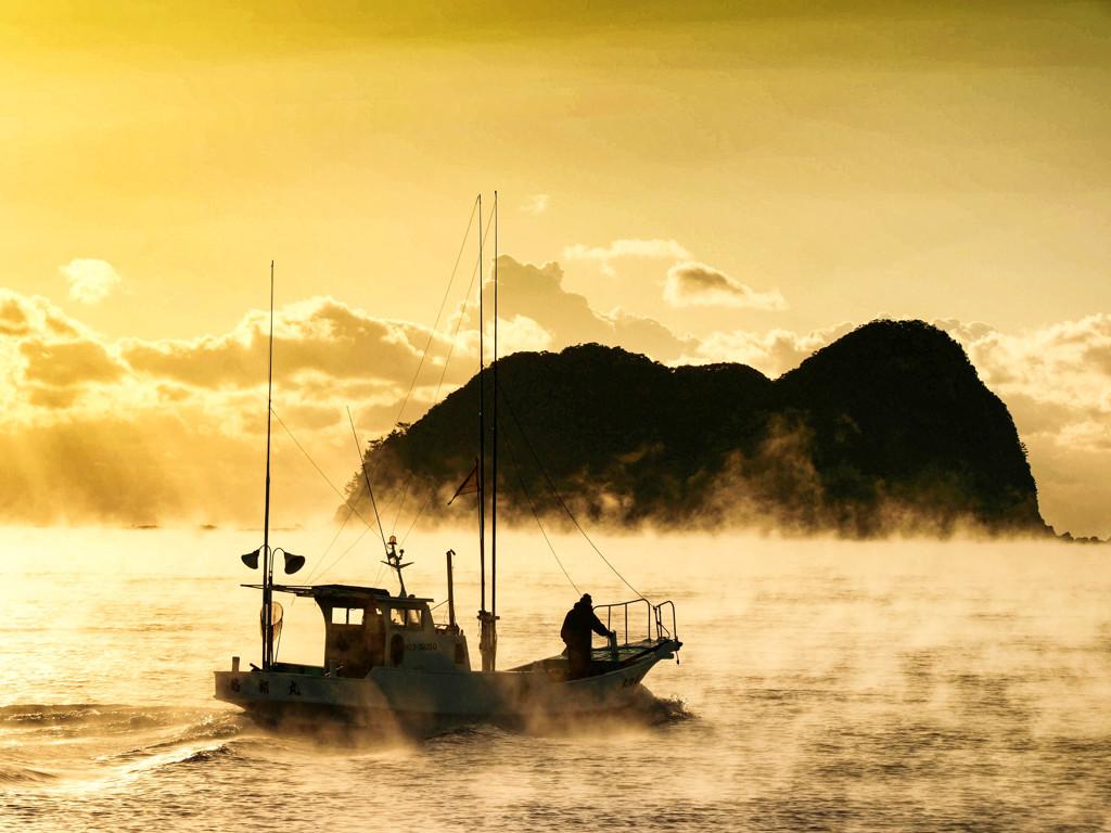 気嵐の出漁