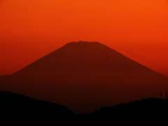 夕暮れの富士