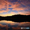 ある日の池の夕焼け