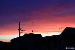 家から見た夕焼け