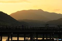 渡月橋の夕暮れ