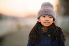 夕日と毛糸の帽子