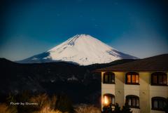 冬の星空と富士