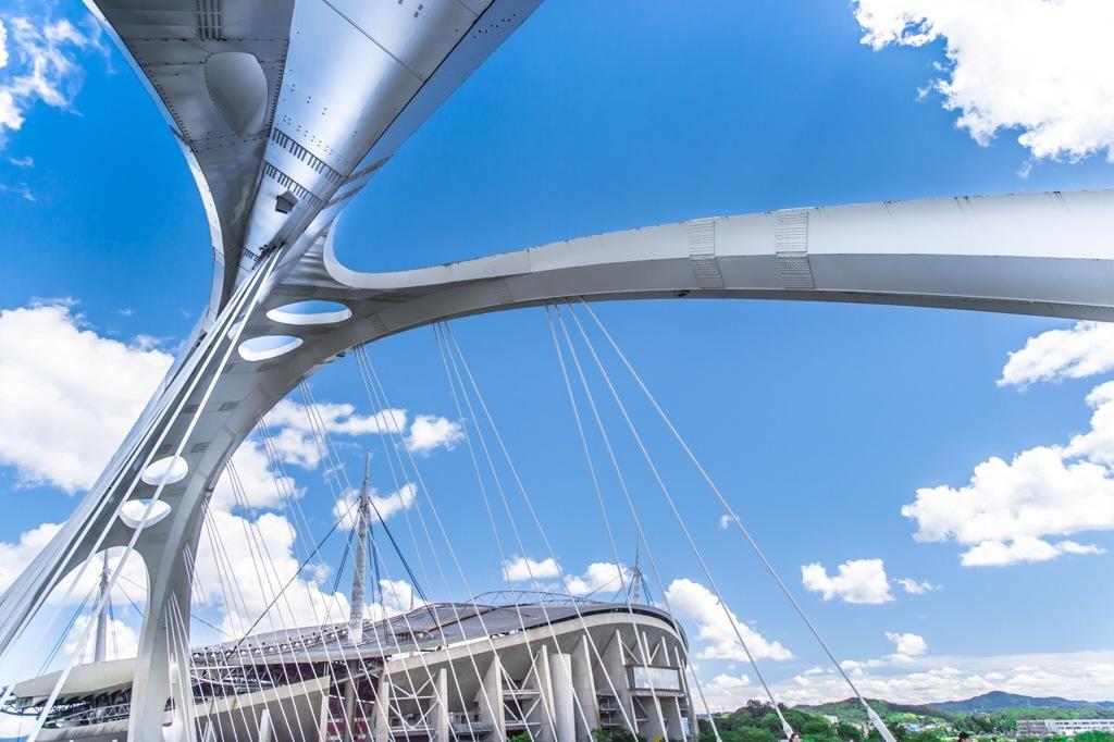 愛知県豊田市-豊田大橋とトヨタスタジアム