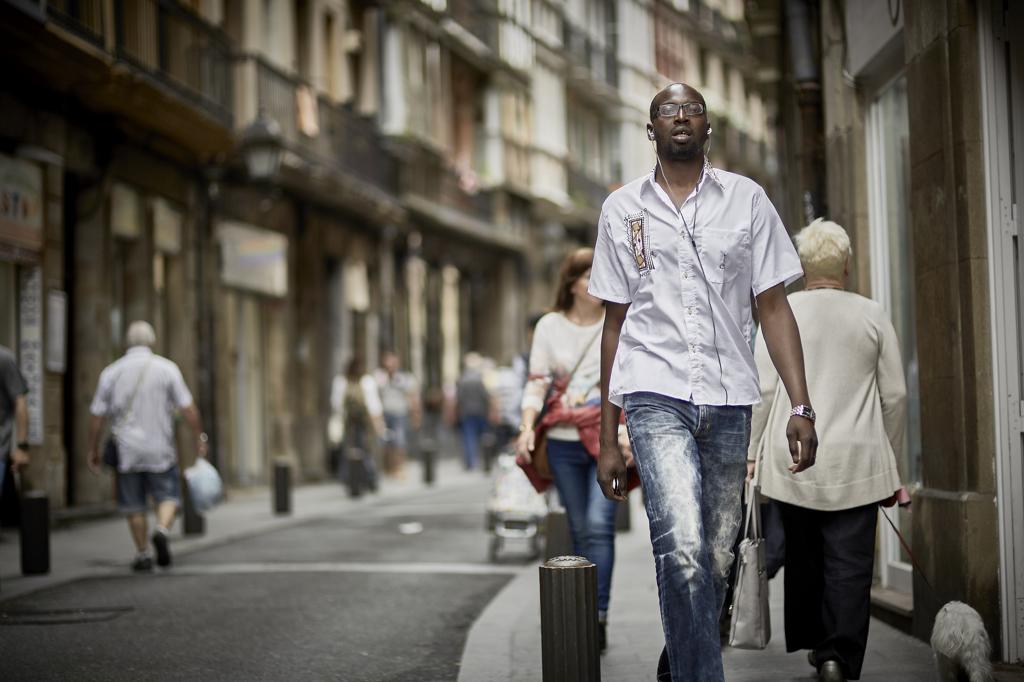 Walking down street