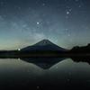 星と銀河が湖面に映る時