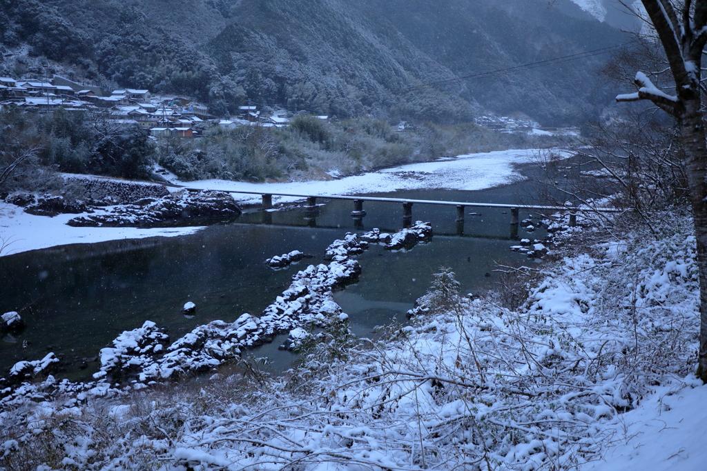 四万十川にも雪景色