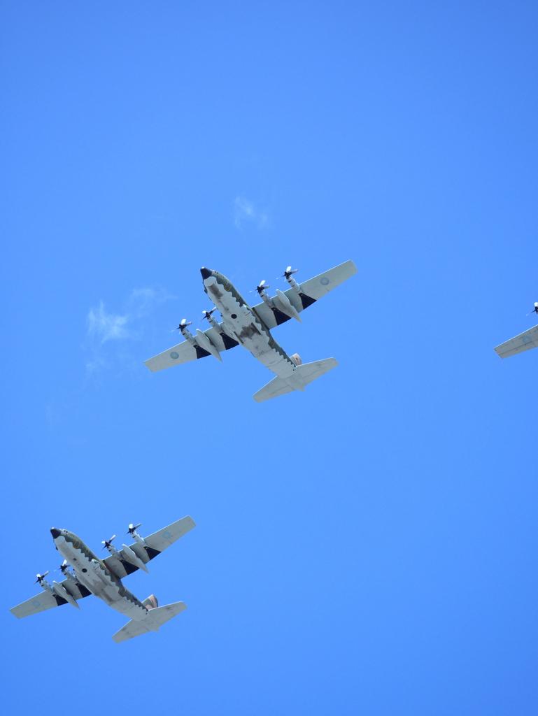 空軍輸送機のおなか