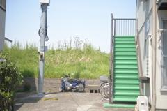 オートバイと緑色の階段