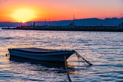 大晦日の夕日(片瀬漁港)