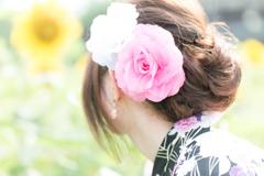 夏と花と浴衣