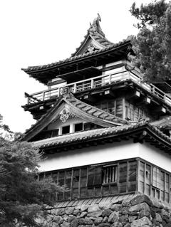 丸岡城モノクローム