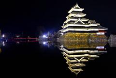 夜中の松本城