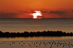 ダルマ朝日の前浜