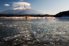 精進湖・氷結