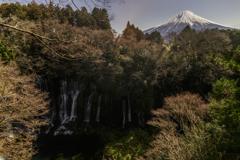 月夜の白糸の滝