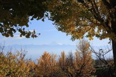 霞みの中に富士
