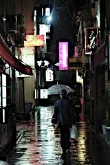 雨の思案橋横丁