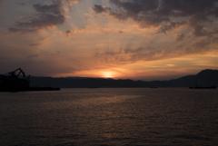 船上からの夕暮れ