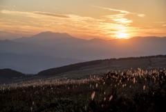 霧ヶ峰の夕景