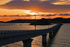 角島大橋 夕焼け