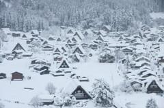雪中白川郷定番図