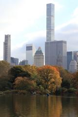 高層ビルと紅葉