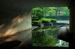 水鏡と朝の射光