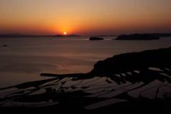 福島町の棚田の夕日