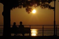 二人の夕日