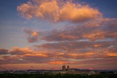 夏空 夕焼け雲