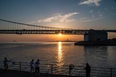 明石海峡大橋の夕陽 1