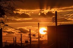 ポートアイランドの夕日
