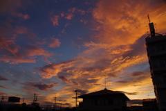 街中の夕日2
